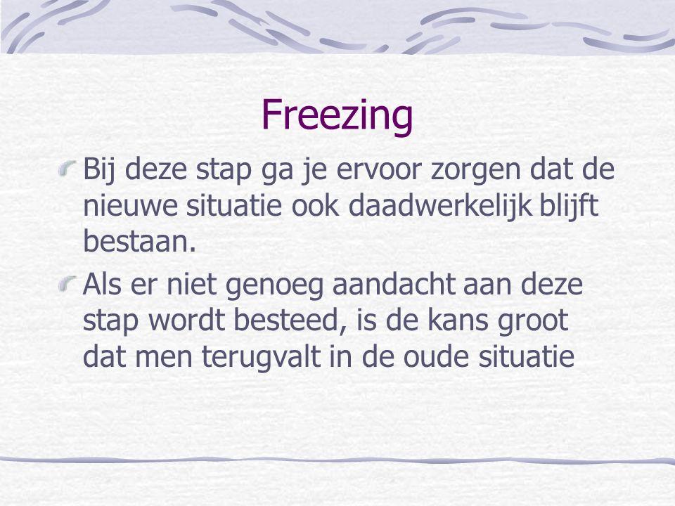 Freezing Bij deze stap ga je ervoor zorgen dat de nieuwe situatie ook daadwerkelijk blijft bestaan.