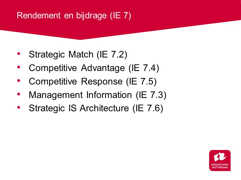 Rendement en bijdrage (IE 7)