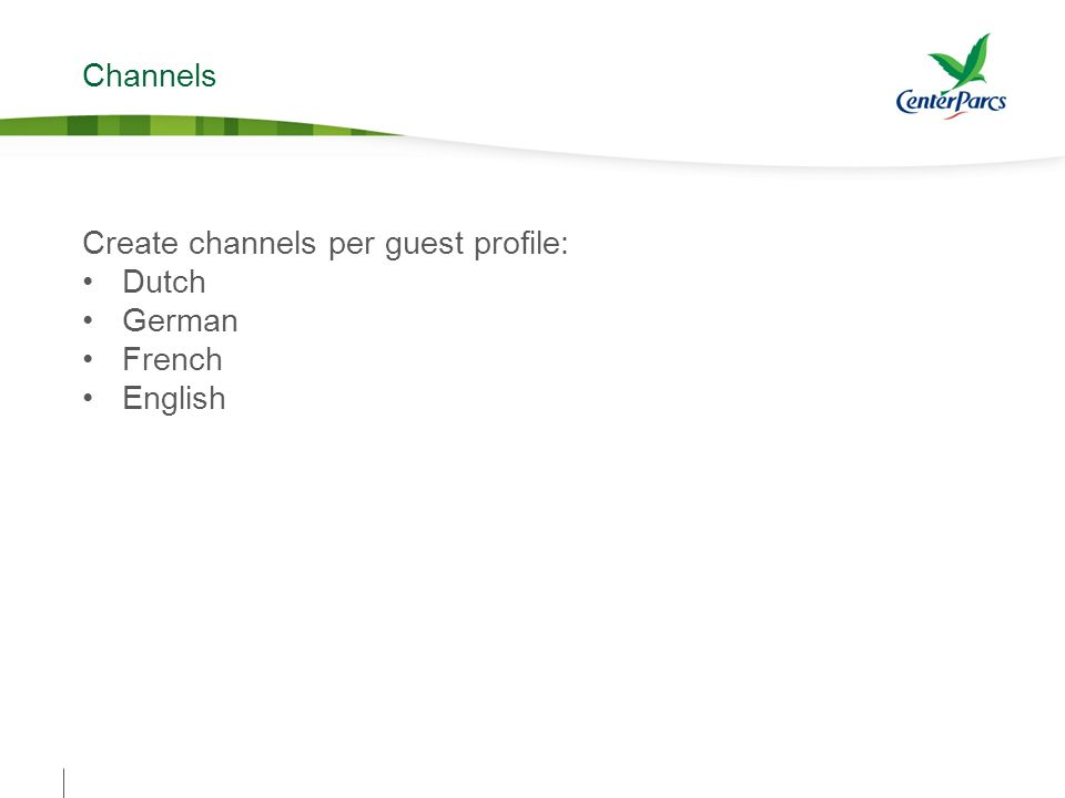 Channels Create channels per guest profile: Dutch German French English