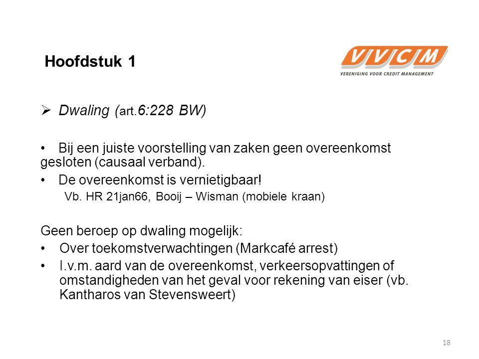 Hoofdstuk 1 Dwaling (art.6:228 BW)