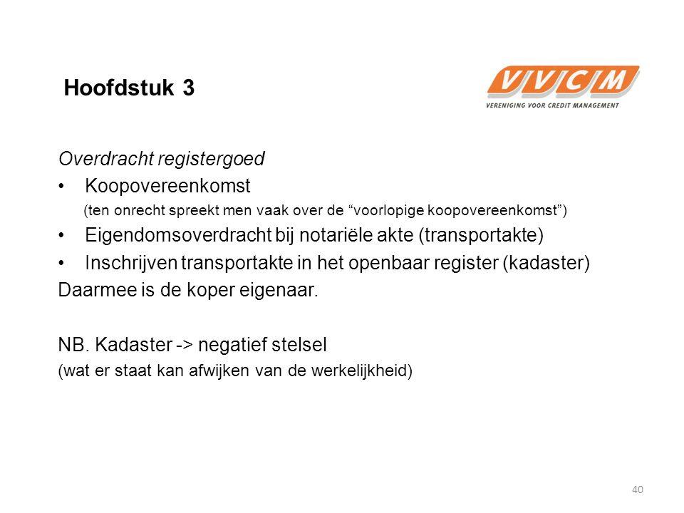 Hoofdstuk 3 Overdracht registergoed Koopovereenkomst