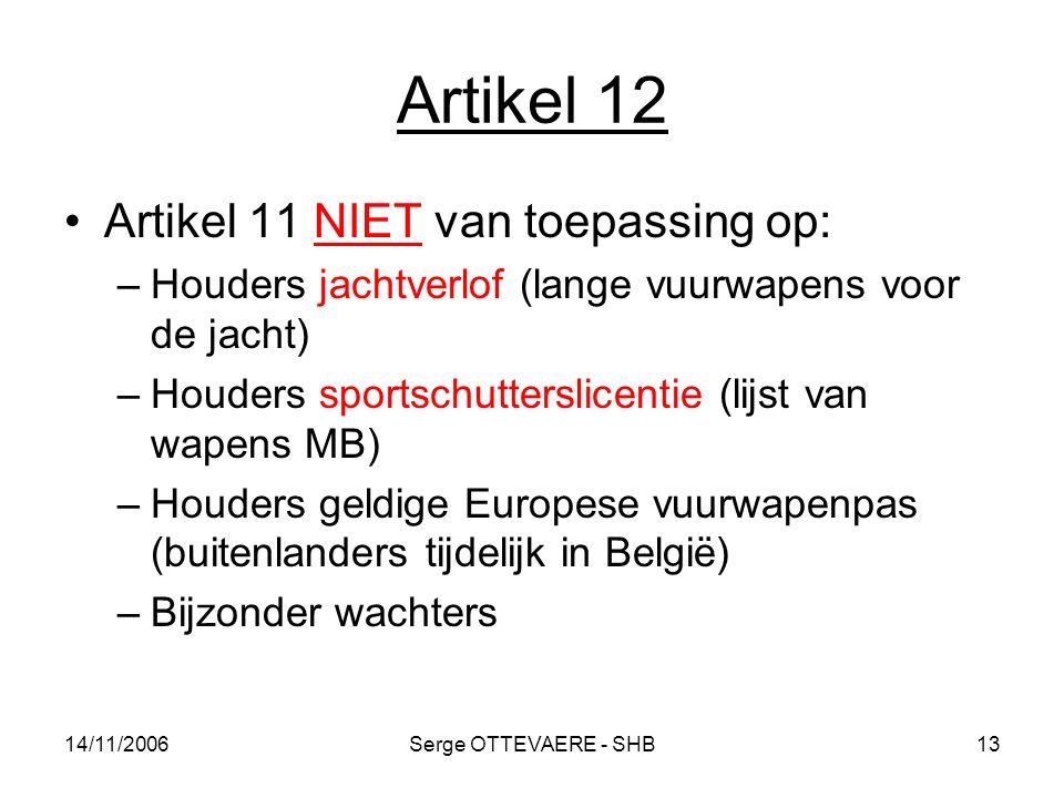 Artikel 12 Artikel 11 NIET van toepassing op:
