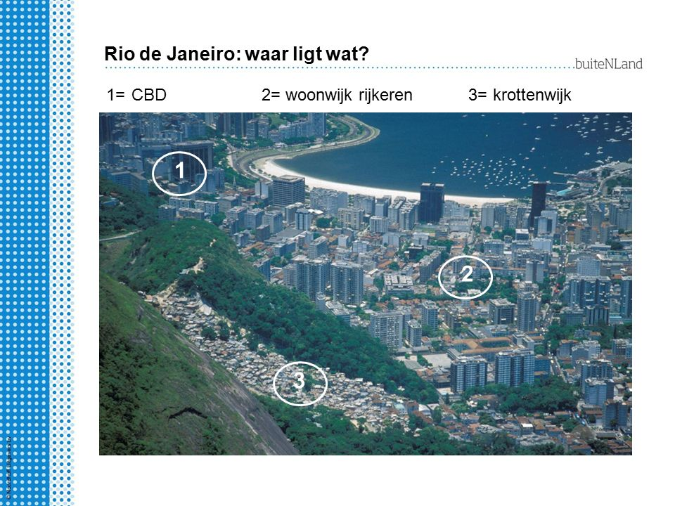 1 2 3 Rio de Janeiro: waar ligt wat 1= 2= 3= CBD woonwijk rijkeren