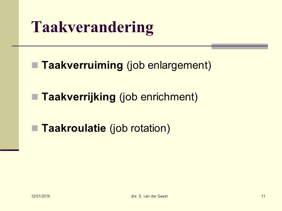 Taakverandering Taakverruiming (job enlargement)