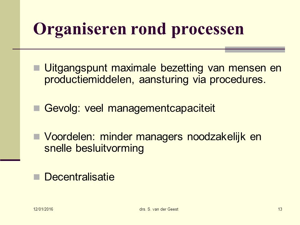Organiseren rond processen