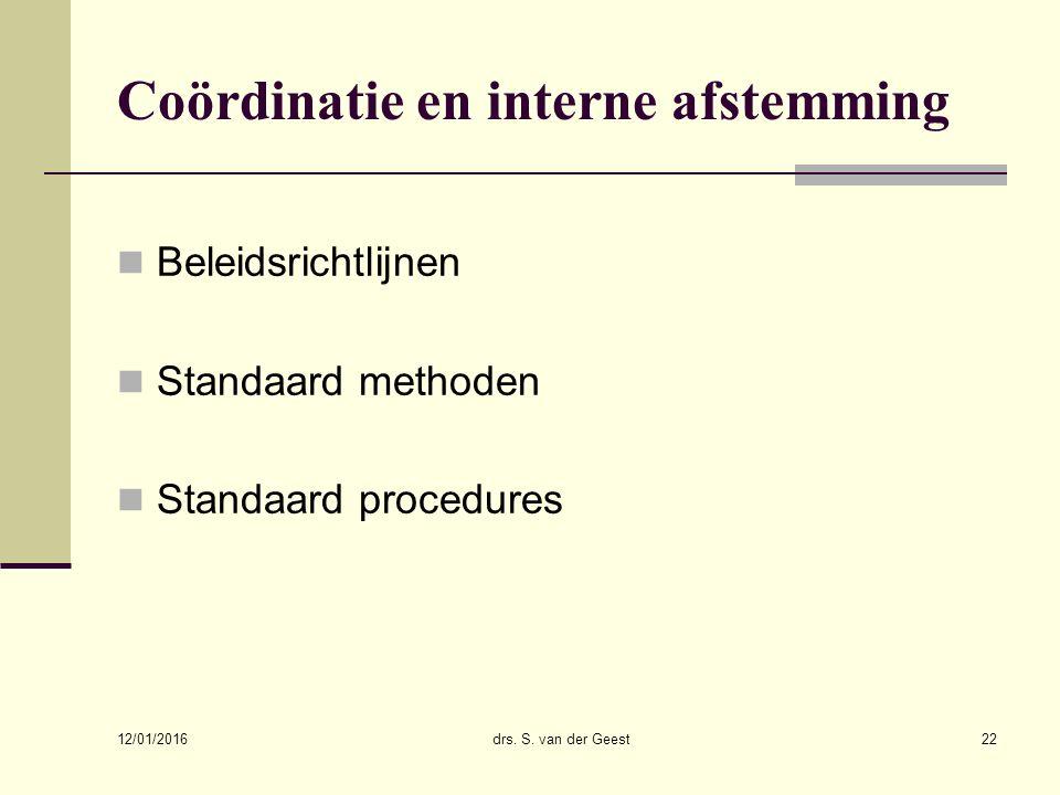Coördinatie en interne afstemming