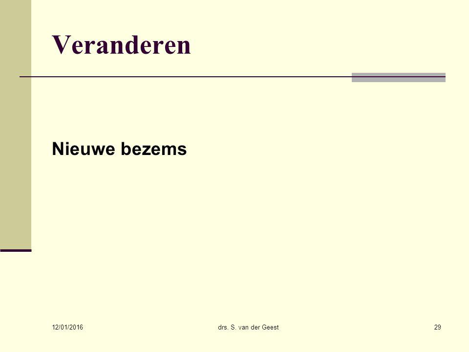 Veranderen Nieuwe bezems 26/04/2017 drs. S. van der Geest