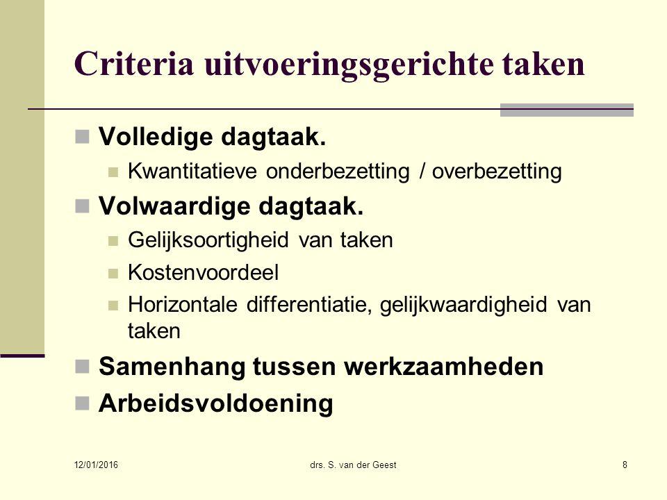 Criteria uitvoeringsgerichte taken