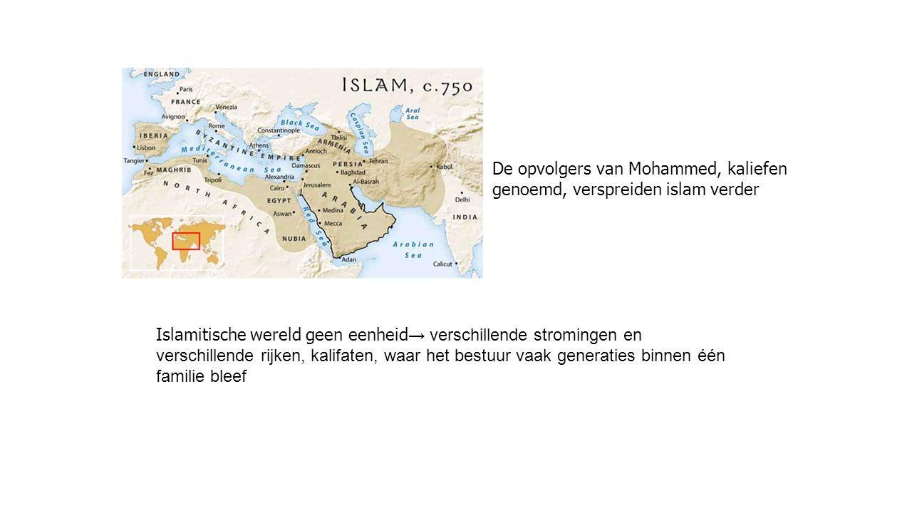 De opvolgers van Mohammed, kaliefen genoemd, verspreiden islam verder