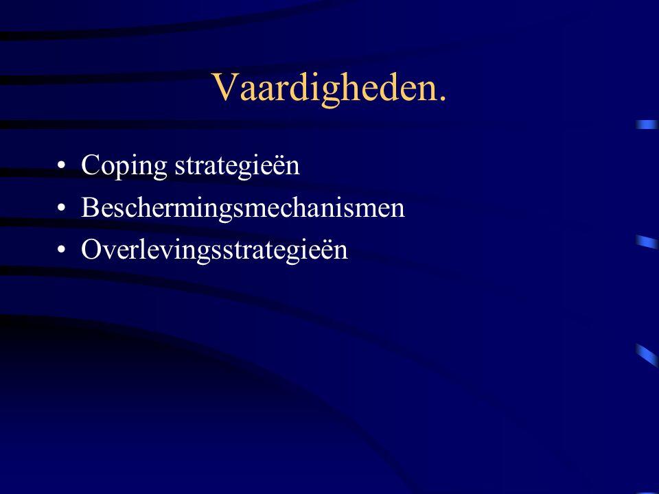 Vaardigheden. Coping strategieën Beschermingsmechanismen