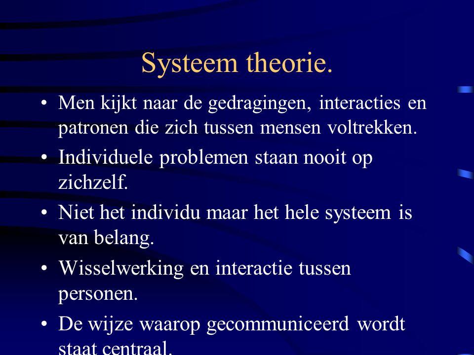 Systeem theorie. Individuele problemen staan nooit op zichzelf.
