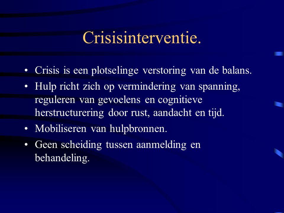 Crisisinterventie. Crisis is een plotselinge verstoring van de balans.