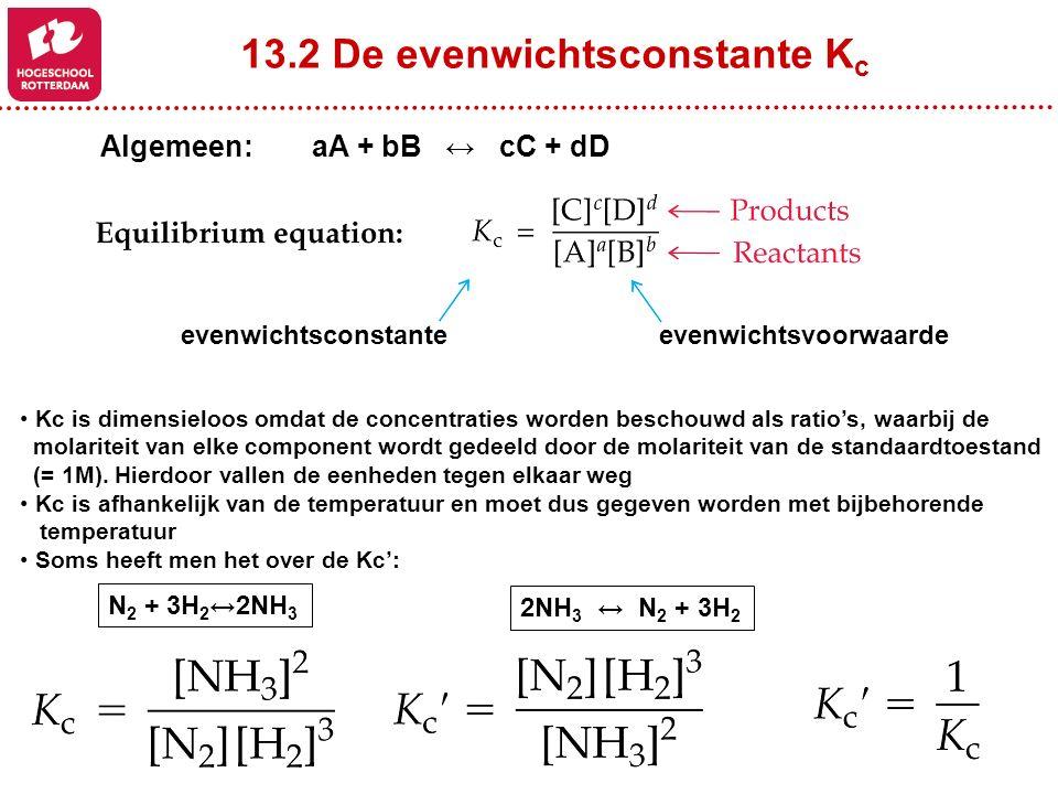 13.2 De evenwichtsconstante Kc