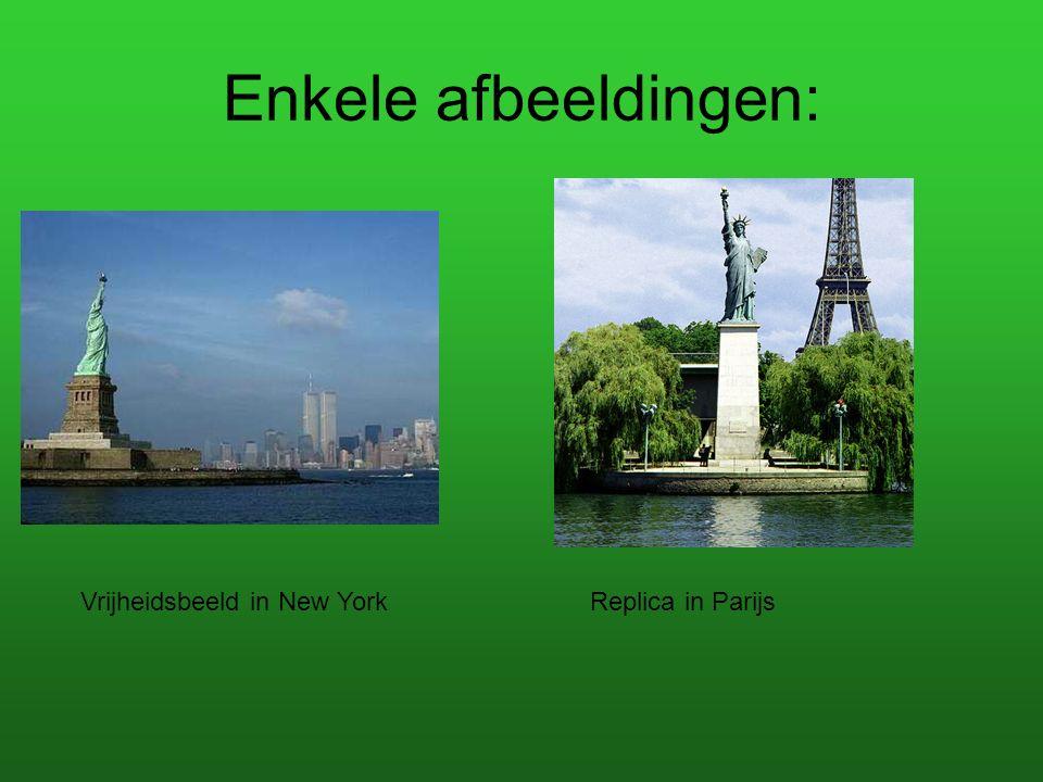 Enkele afbeeldingen: Vrijheidsbeeld in New York Replica in Parijs