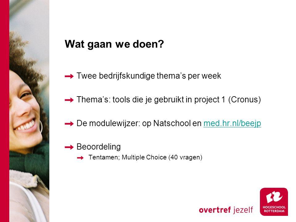 Wat gaan we doen Twee bedrijfskundige thema's per week