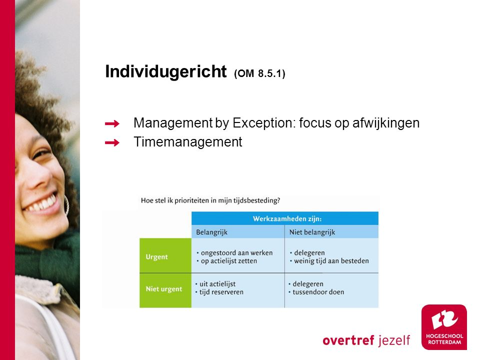 Individugericht (OM 8.5.1) Management by Exception: focus op afwijkingen Timemanagement