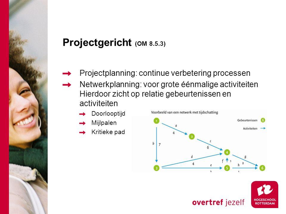Projectgericht (OM 8.5.3) Projectplanning: continue verbetering processen.