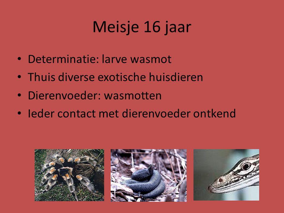 Meisje 16 jaar Determinatie: larve wasmot
