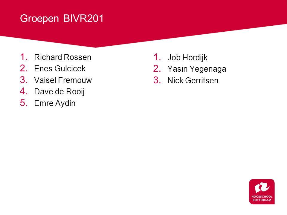 Groepen BIVR201 Richard Rossen Job Hordijk Enes Gulcicek