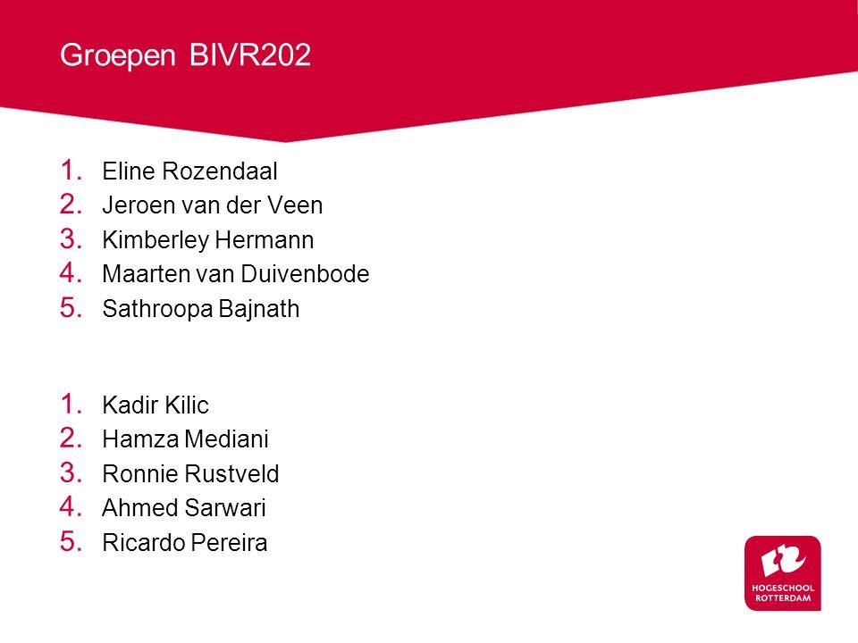 Groepen BIVR202 Eline Rozendaal Jeroen van der Veen Kimberley Hermann