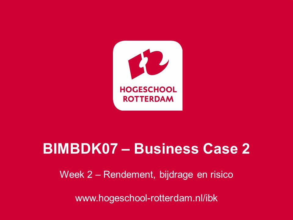 Week 2 – Rendement, bijdrage en risico
