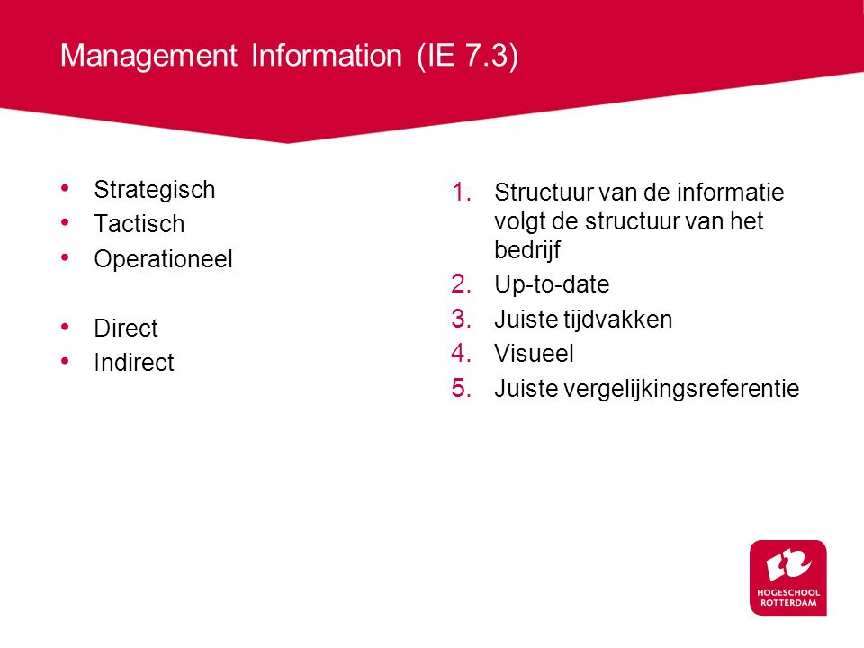 Management Information (IE 7.3)