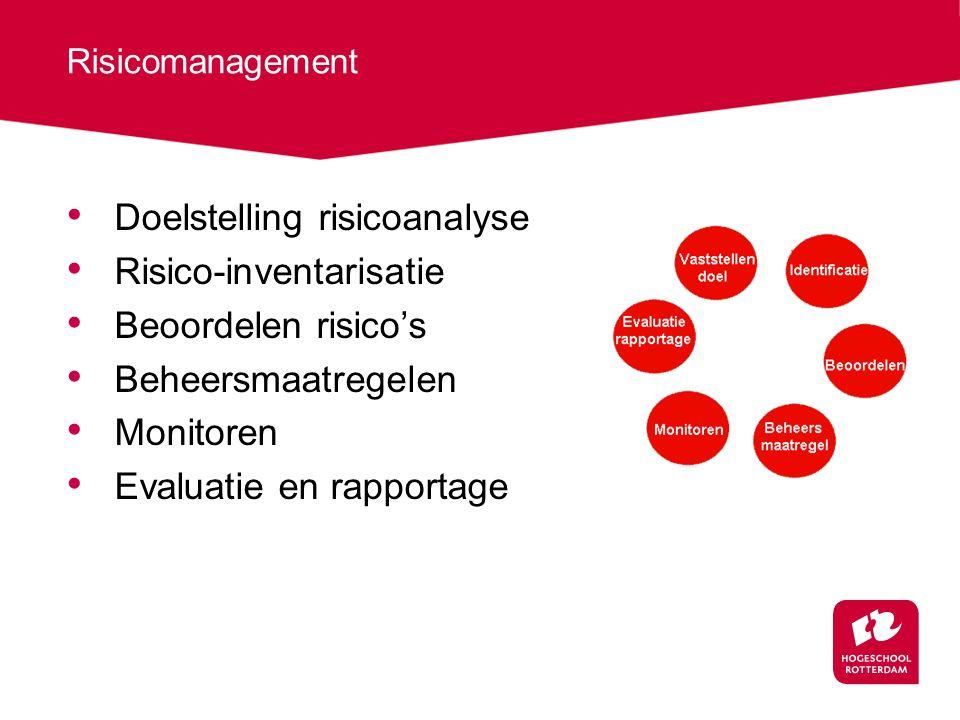 Doelstelling risicoanalyse Risico-inventarisatie Beoordelen risico's