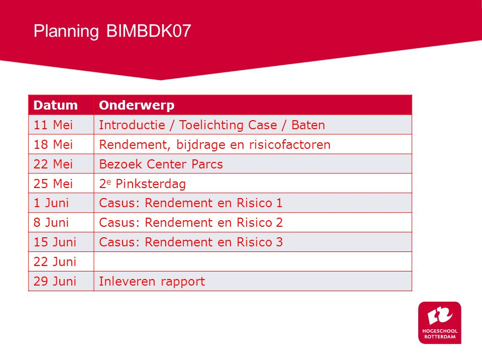 Planning BIMBDK07 Datum Onderwerp 11 Mei