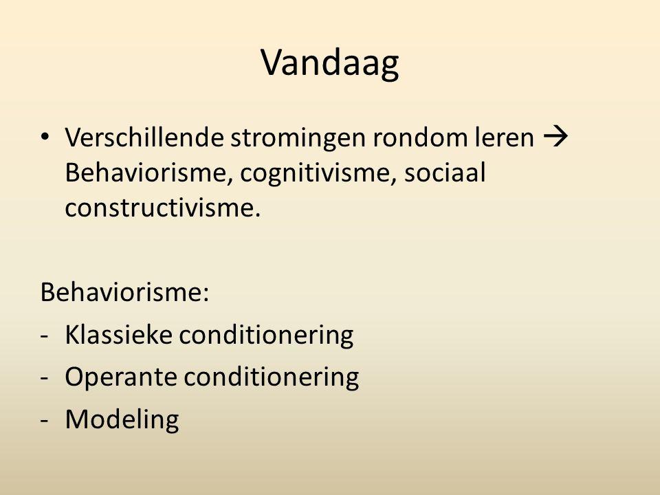 Vandaag Verschillende stromingen rondom leren  Behaviorisme, cognitivisme, sociaal constructivisme.
