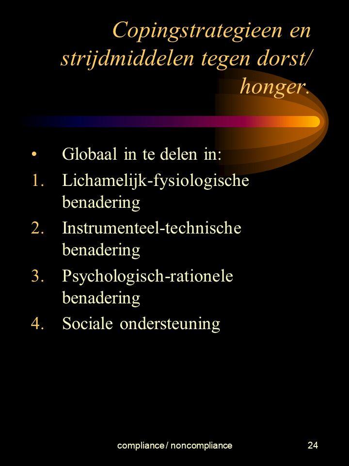 Copingstrategieen en strijdmiddelen tegen dorst/ honger.