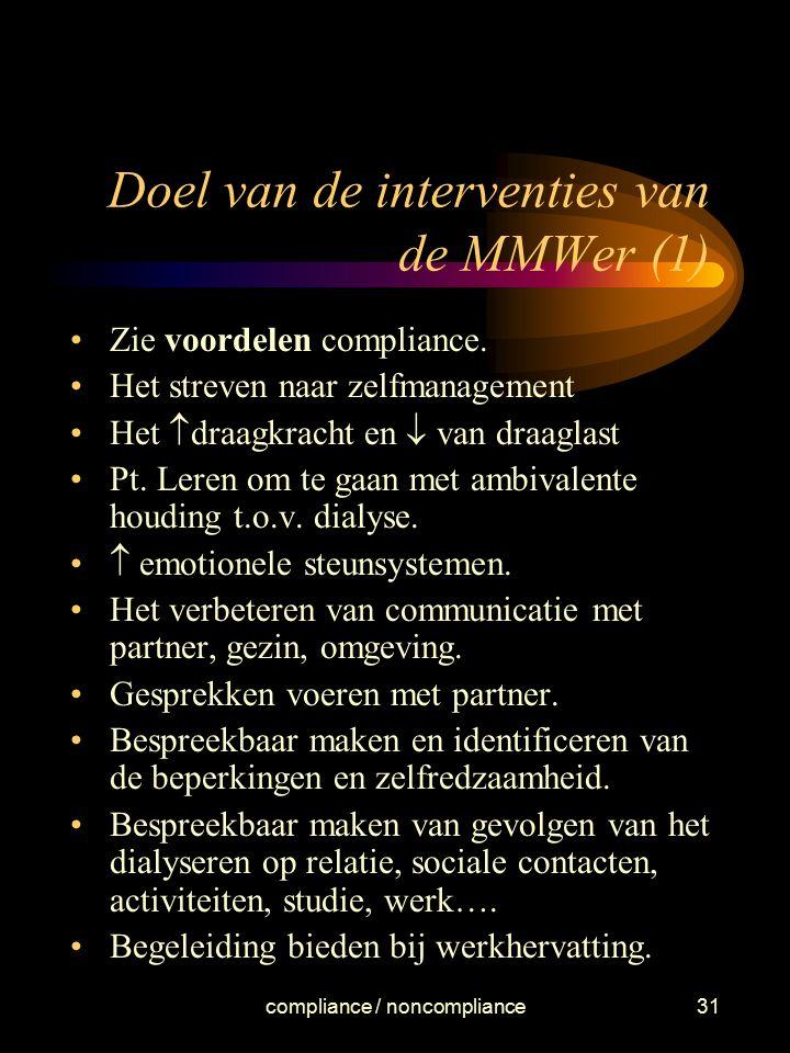 Doel van de interventies van de MMWer (1)