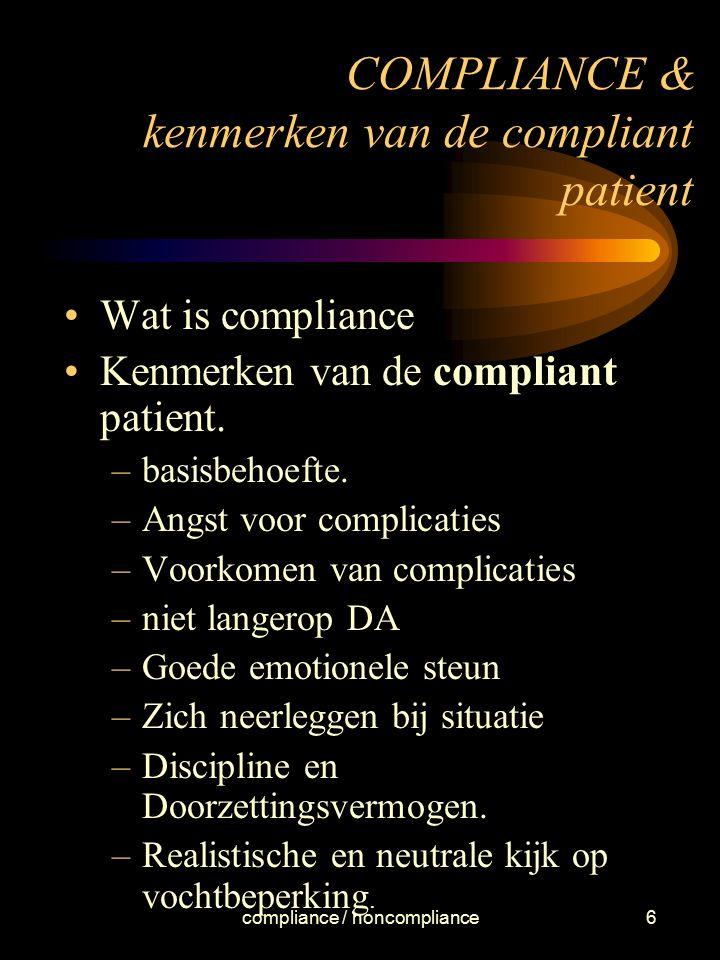COMPLIANCE & kenmerken van de compliant patient