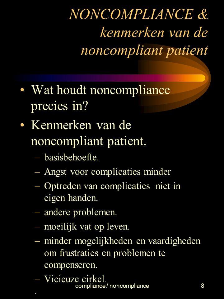 NONCOMPLIANCE & kenmerken van de noncompliant patient