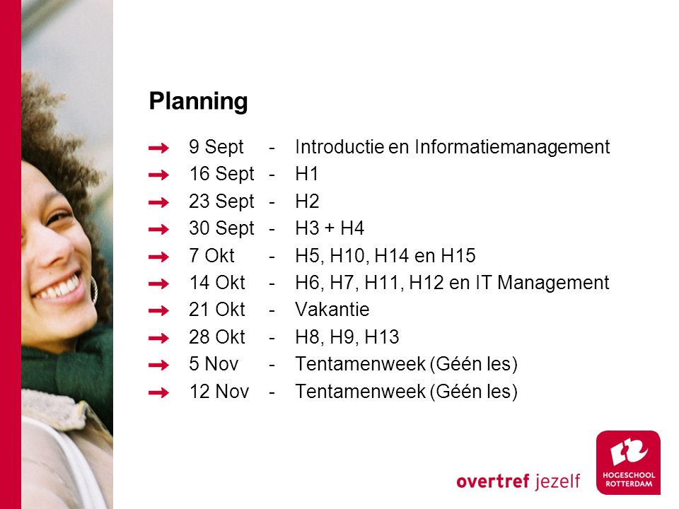 Planning 9 Sept - Introductie en Informatiemanagement 16 Sept - H1