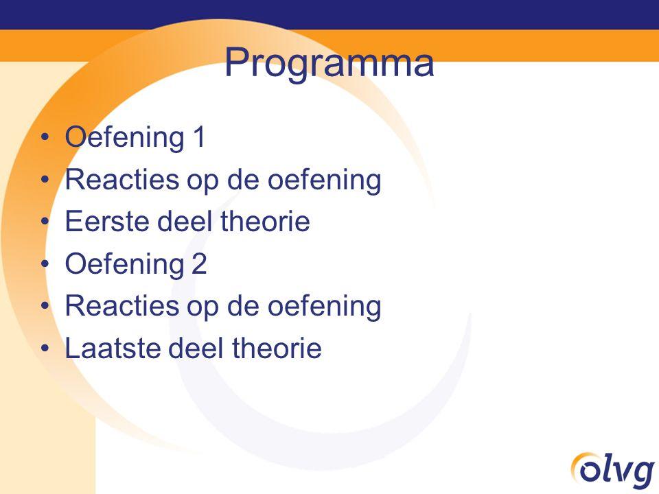 Programma Oefening 1 Reacties op de oefening Eerste deel theorie