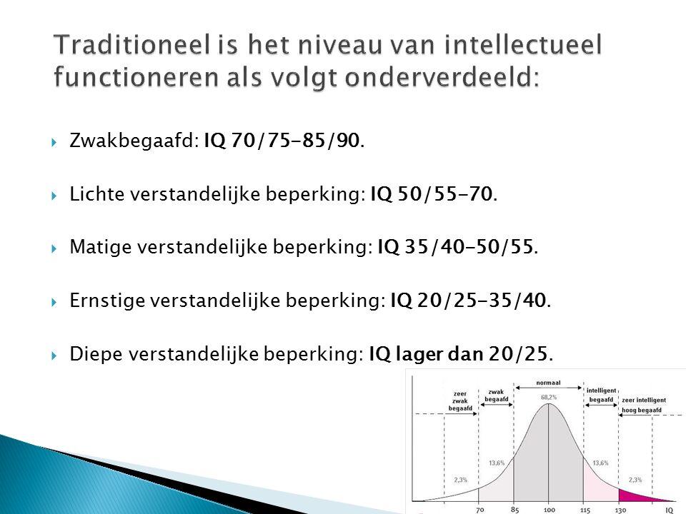Traditioneel is het niveau van intellectueel functioneren als volgt onderverdeeld: