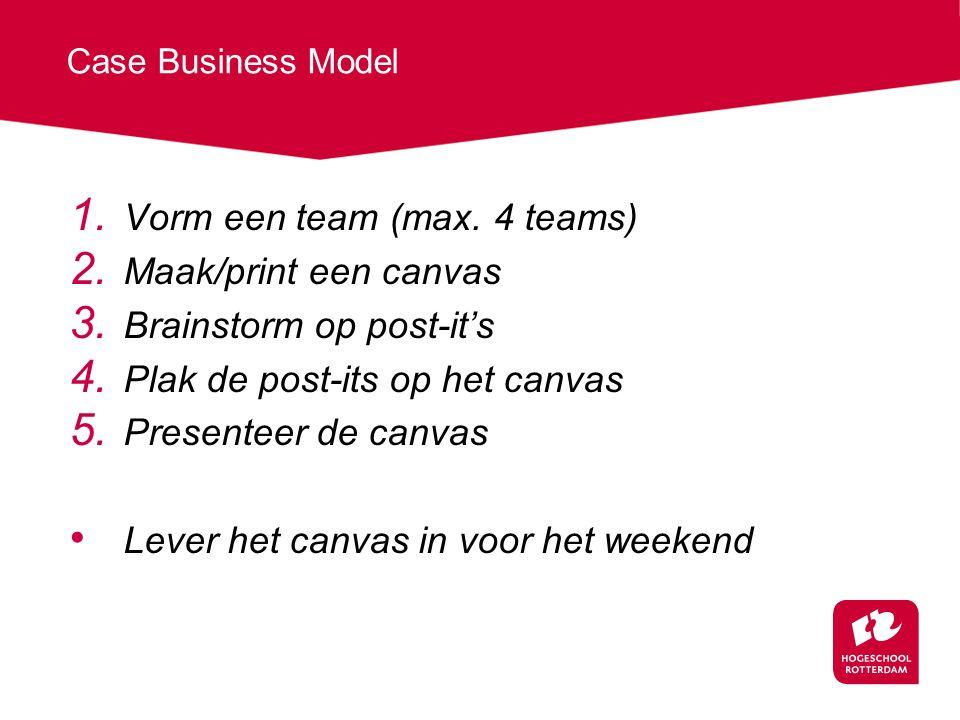 Vorm een team (max. 4 teams) Maak/print een canvas