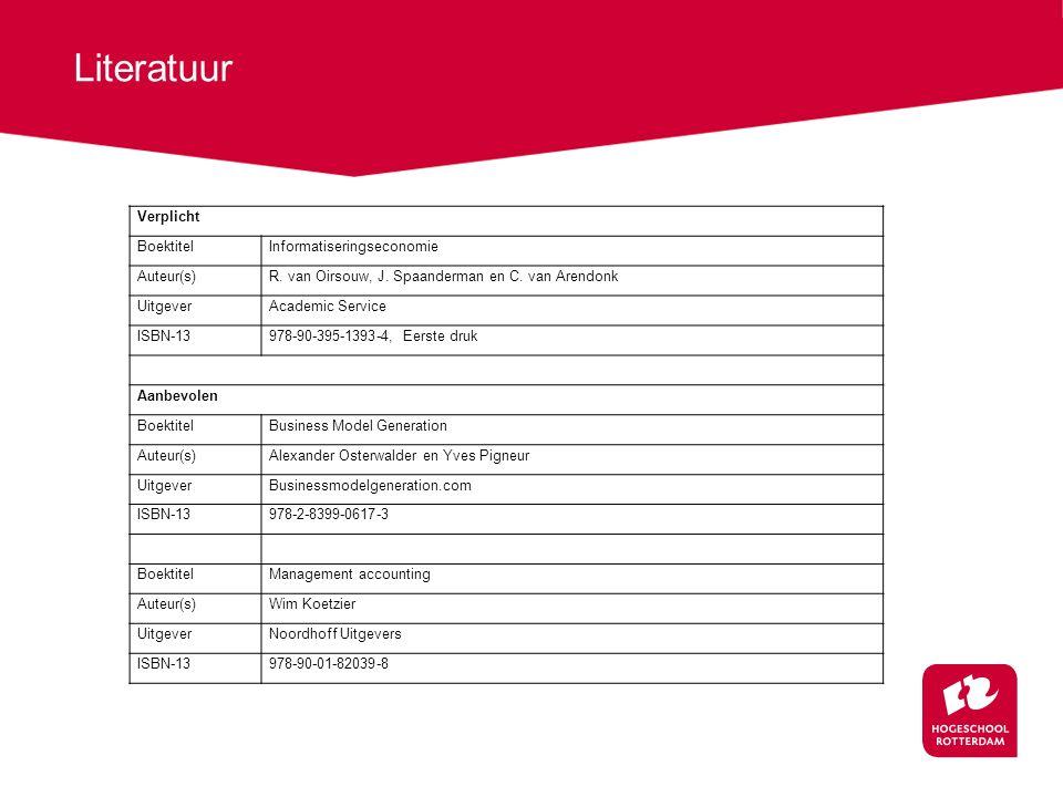 Literatuur Verplicht Boektitel Informatiseringseconomie Auteur(s)