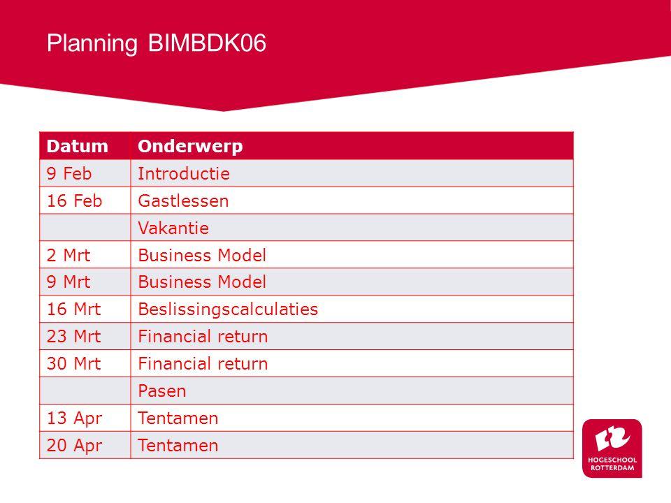 Planning BIMBDK06 Datum Onderwerp 9 Feb Introductie 16 Feb Gastlessen