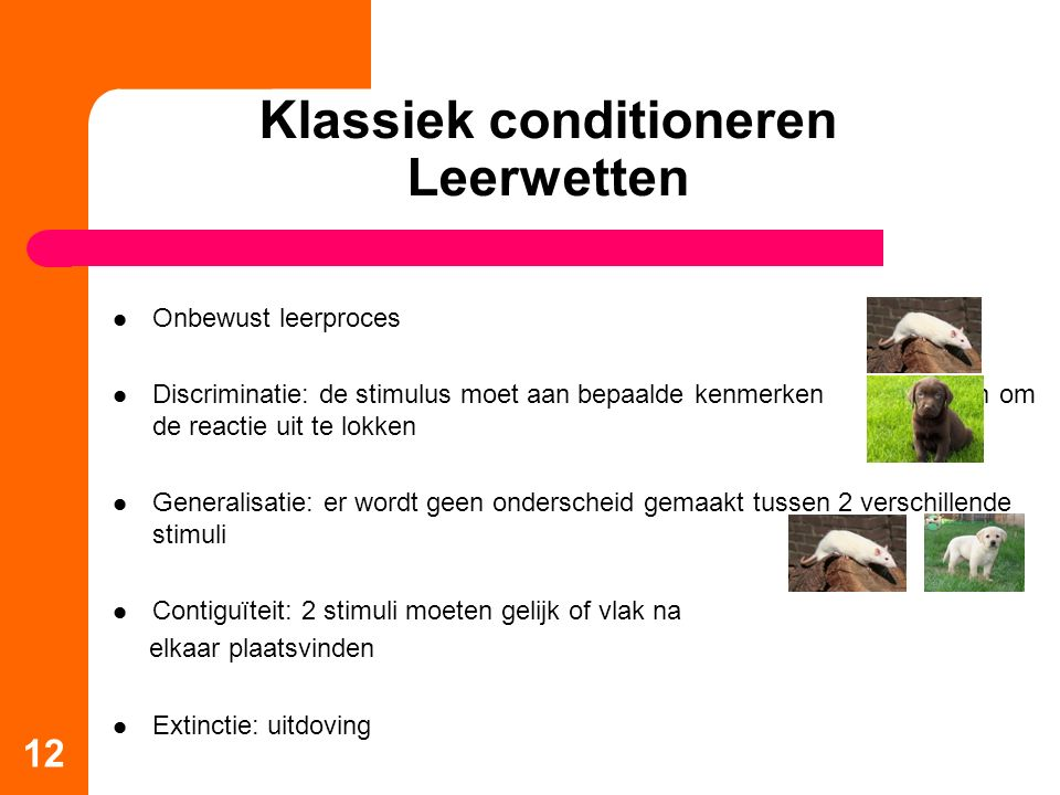 Klassiek conditioneren Leerwetten