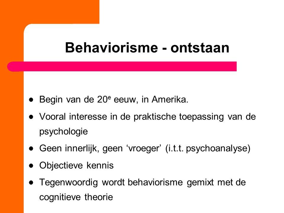 Behaviorisme - ontstaan