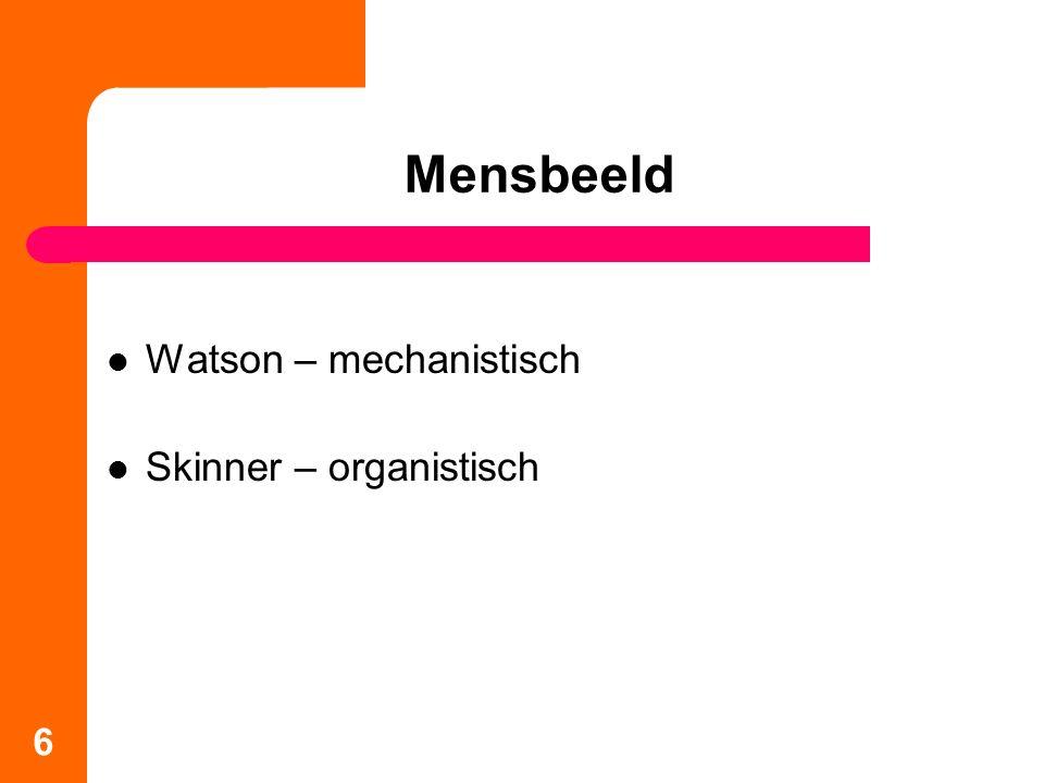 Mensbeeld Watson – mechanistisch Skinner – organistisch