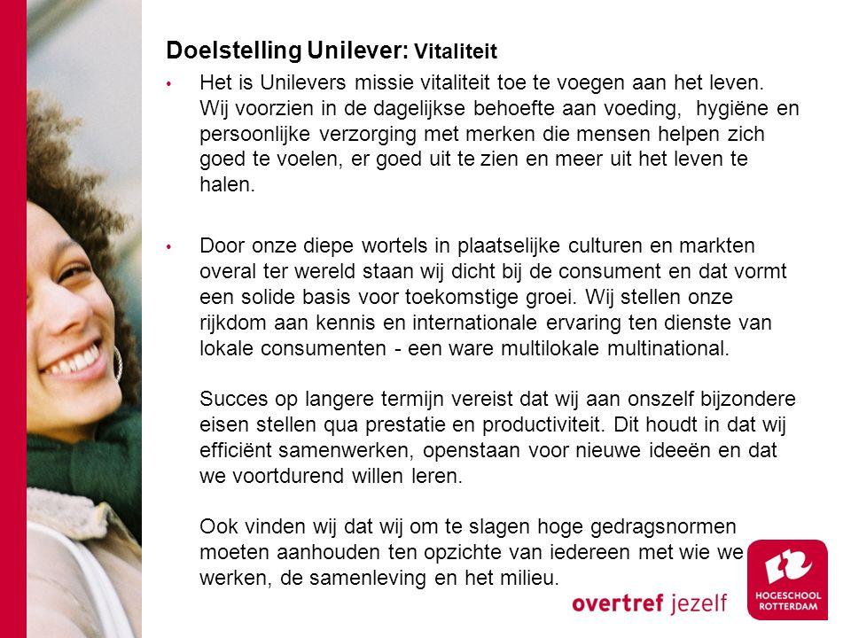 Doelstelling Unilever: Vitaliteit
