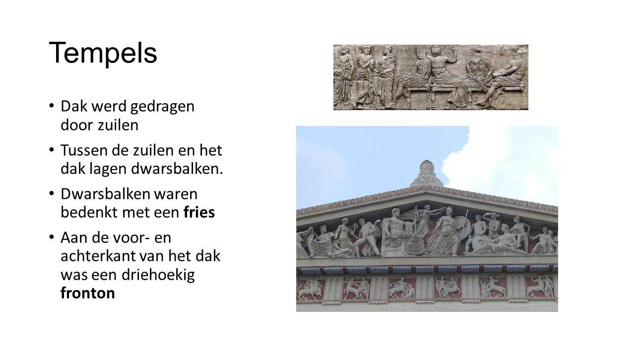 Tempels Dak werd gedragen door zuilen