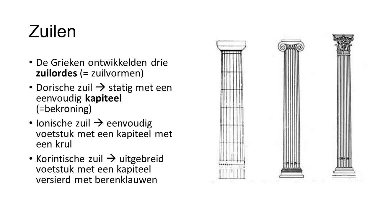 Zuilen De Grieken ontwikkelden drie zuilordes (= zuilvormen)
