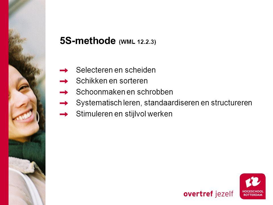 5S-methode (WML 12.2.3) Selecteren en scheiden Schikken en sorteren