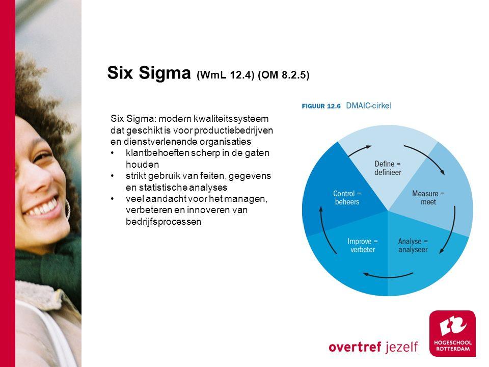Six Sigma (WmL 12.4) (OM 8.2.5) Six Sigma: modern kwaliteitssysteem dat geschikt is voor productiebedrijven en dienstverlenende organisaties.