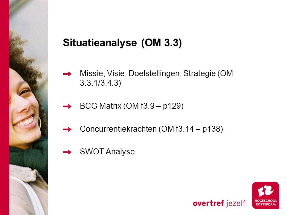 Situatieanalyse (OM 3.3) Missie, Visie, Doelstellingen, Strategie (OM 3.3.1/3.4.3) BCG Matrix (OM f3.9 – p129)