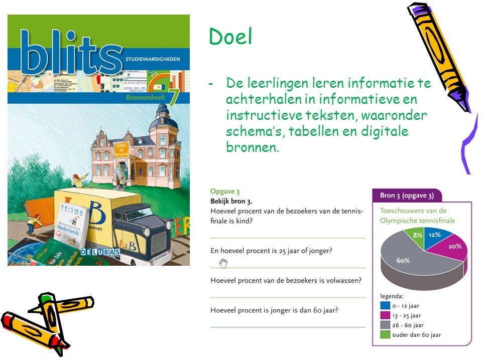 Doel De leerlingen leren informatie te achterhalen in informatieve en instructieve teksten, waaronder schema's, tabellen en digitale bronnen.