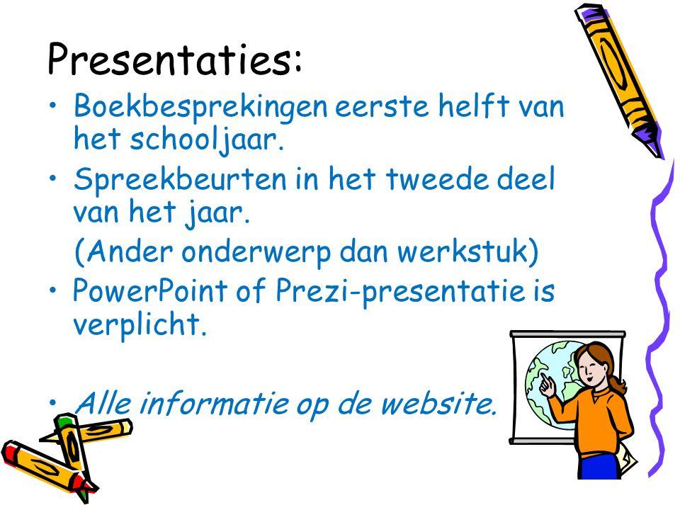Presentaties: Boekbesprekingen eerste helft van het schooljaar.